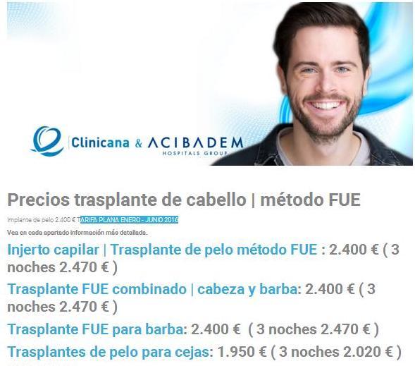 Precios Clinicana hasta junio 2016